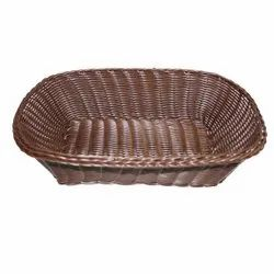 Brown Rectangular Handmade Plastic Cane Effect Basket (Big), Size/Dimension: 34 X 14 X 9 Cm, 138