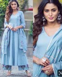 Long Anarkali Style Full Stitch Block Print Dress
