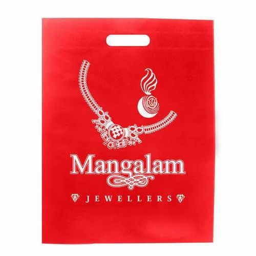 Red Printed D Cut Non Woven Bag, For Shopping