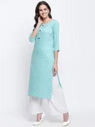 Jaipur Pints Rayon Floral Blue Straight Kurta