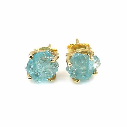 Aquamarine Rough Stud Earring