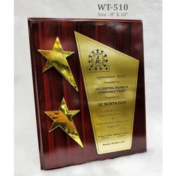 Red Glossy Star Certificate Plaque