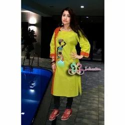 Inkreation Cotton Ladies Full Sleeve Hand Painted Kurti, Size: 46