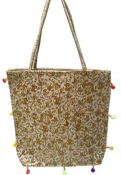 Little India Embroidered Golden Embroidery Work Tote Bag, Size: 16