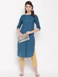 Women Yarn Dyed Khadi Cotton Kurta