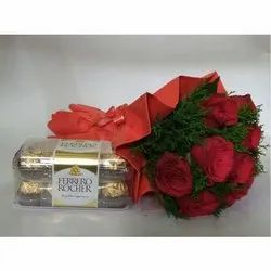 Spring Bloom Red Roses Bunch With Chocolate Box