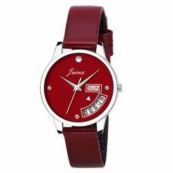 Jainx Day and Date Red Analog Watch for Women & Girls JW603