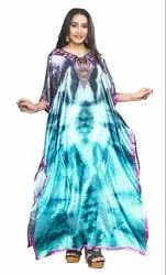 Digital Printed Satin Silk Kaftan