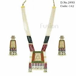 Traditional Pearl Meenakari Pendant Set