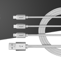 Silver Premium 3 In 1 Nylon Braided Usb Data Cable