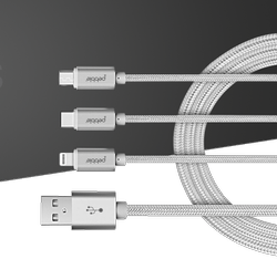 Premium 3 in 1 Nylon Braided USB Data Cable