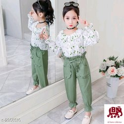 Cotton Casual Girls Modern Top With Pant