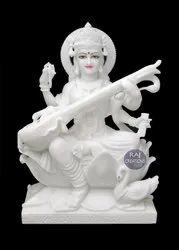 Raj Creations White Marble Saraswati Statue