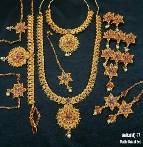 Golden Alloy Traditional South Indian Bridal Set