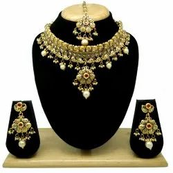 Alloy Golden Antique Beaded Necklace Set, Box, Occasion: Wedding