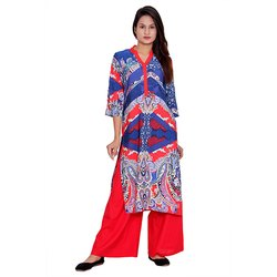 Blue and Red Designer Crepe Kurti
