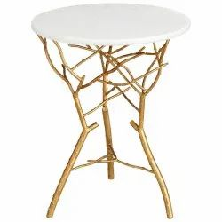 Golden and White Brass Table