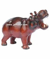 Handicraft Leather Animals jsthakur Awesome Handcrafted Leather Hippopotamus, Size: 6inch To Life Like Size, for Decorative