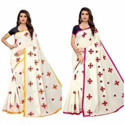 Heart Chanderi With Embroidery Saree