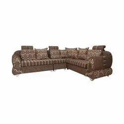 L Shape Wooden Designer Brown Corner Sofa Set, For Home