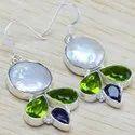 925 Sterling Silver Jewelry Pearl & Peridot Gemstone Stone Earring