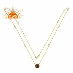 Round Tiger Eye Gemstone Bead Gold Plated Silver Long Chain Necklaces Jewelry