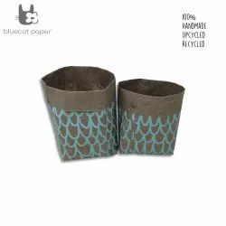 Linen stitch paper sacks - sky blue big 'U' print (set of 2)