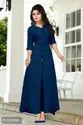 Blue A Line Cotton Plain Kurti For Women