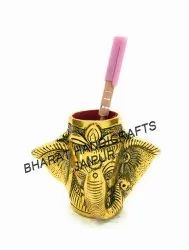 Golden Plated Ganesh Pen Stand