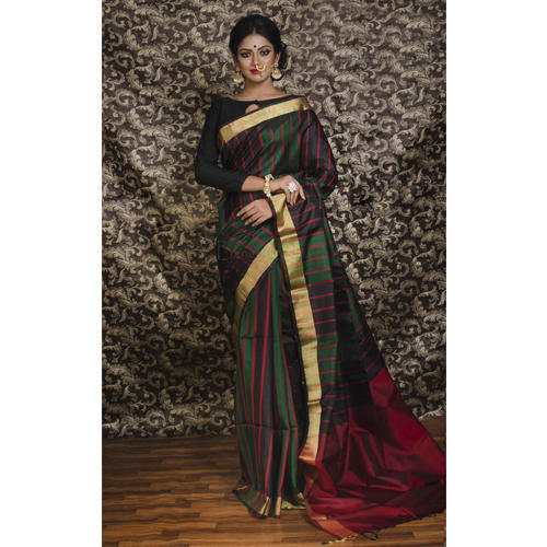 d1cf4b6c9cfed Dupion Kanjivaram Silk Saree in Black
