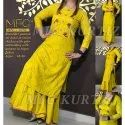 Mfc Cotton Ladies Rayon Yellow Embroidered Kurti