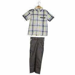 Summer Cotton Boys School Uniform Pant Shirt Set, Size: S, M And L