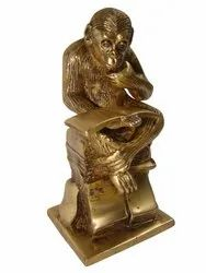 Brass Gorilla Chimpanzee Statue Bookend
