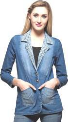 Wash Casual Ladies Stylish Denim Coat, Size: Medium, Large And Xl