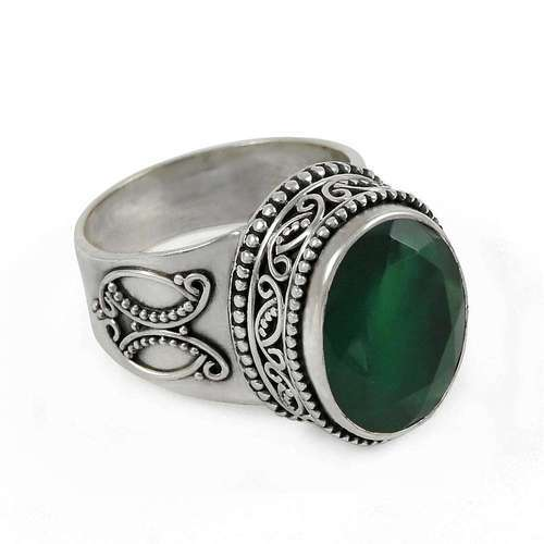 925 Sterling Silver Green Onyx Ring