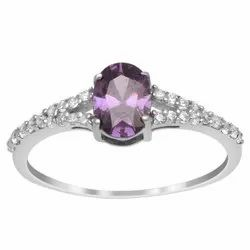 925 Fine Silver 5x7 MM Oval Amethyst Gemstone Solitaire Accents Ring