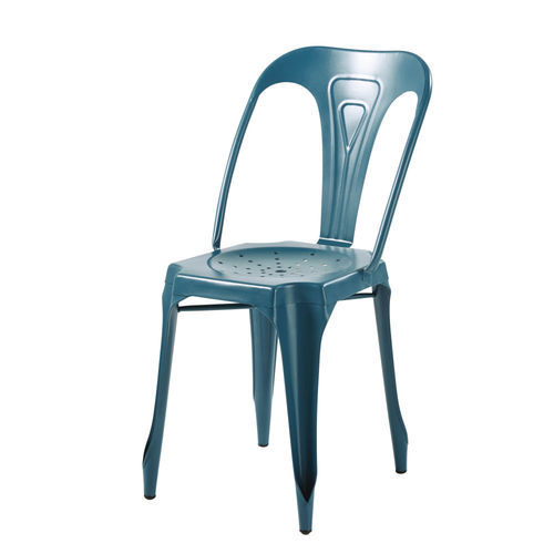 Leela Art & Crafts 41w*52d*84h Cm Peacock Blue Cafe Tolix Chair, Seating Capacity: One Person