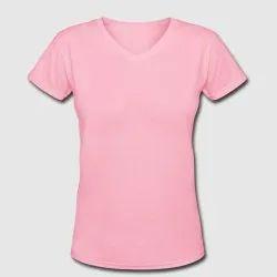 Half Sleeve Casual Wear Womens Plain V Neck T-shirt
