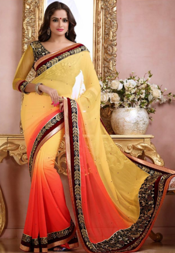 73eb8ed150d23 Shaded Yellow and Peach Faux Chiffon Saree With Blouse - Naman ...