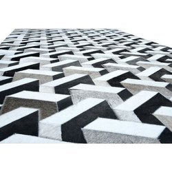 Rectangular GREY & Black DYE Leather Rugs, For Floor
