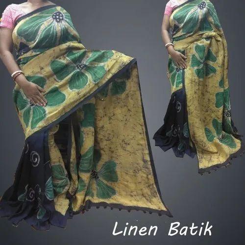 Party Wear Printed Batik Design On Linen Saree, Hand Made