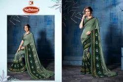 Printed Embroidered With Diamond Work Saree - Tara