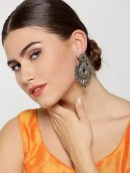 Antique Dual-Toned Blue Stone-Studded Floral Pattern Drop Earrings