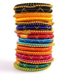 Multi-Color Silk Thread Bangles With Beads And Zari-Cross
