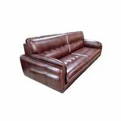 Astha Furniture Wooden 7 Feet Designer Brown Leather Sofa