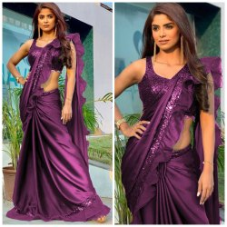 Heavy Rangoli Silk Ruffel Saree