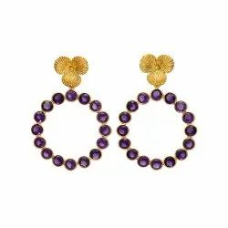 Hoop Earrings Amethyst Gold Filled Gemstone Earrings
