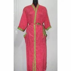 Women's Silk Sari Long Kimono Maxi Gown Dress