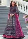 Navy Blue Silk Abaya Style Anarkali Suits