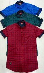 Casual Wear 100% Cotton Mens Half Sleeve Check Shirts, Machine wash